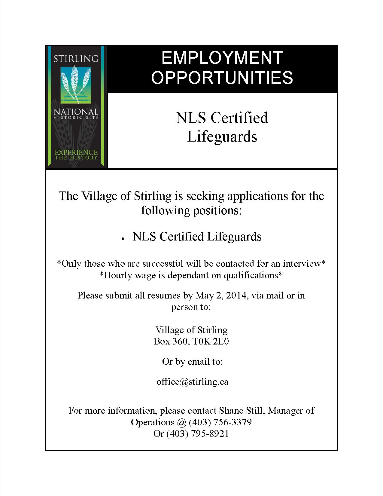summer job posting village of stirling employment opportunities 2014 lifeguards