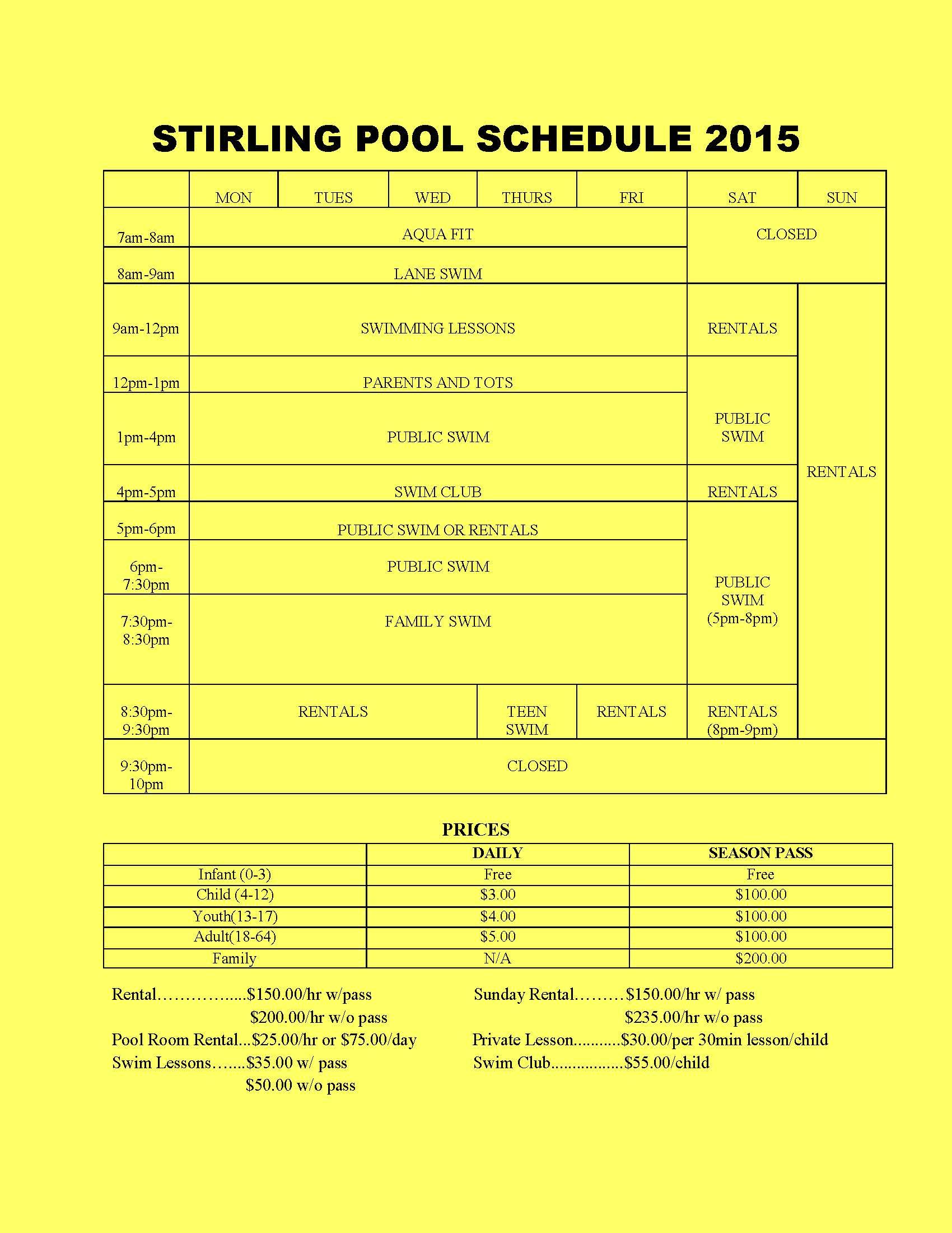 2015 Swimming Pool Season Village Of Stirling