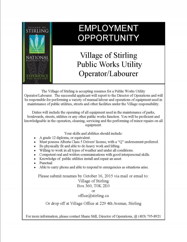 now hiring for works position of stirling